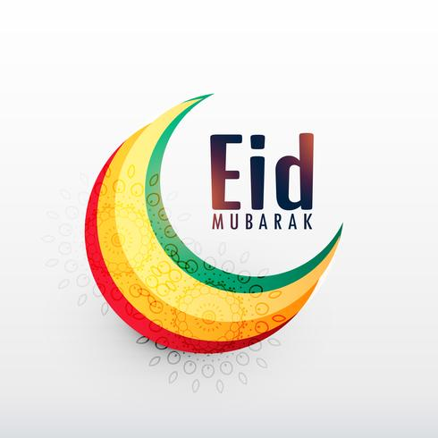 colorful crescent moon for eid mubarak festival