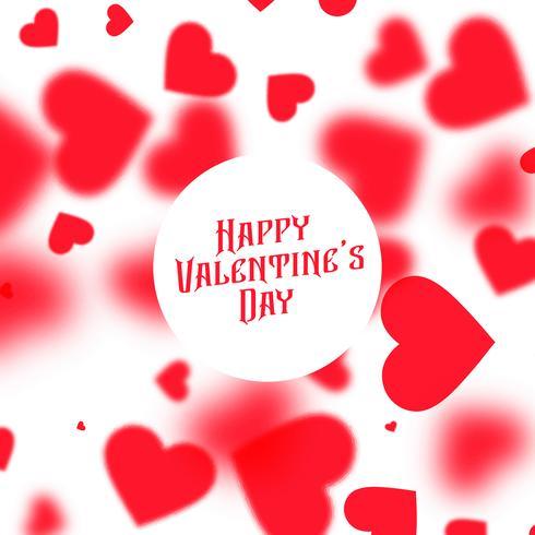 schöner Valentinsgrußtageshintergrund mit roten unscharfen Herzen