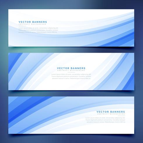 business style blue wave banners set