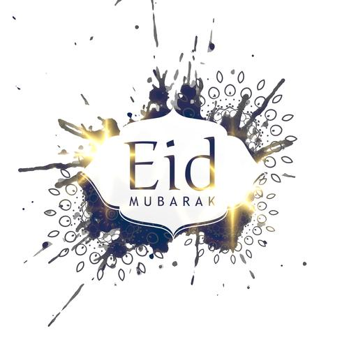 abstract ink splatter eid mubarak design background