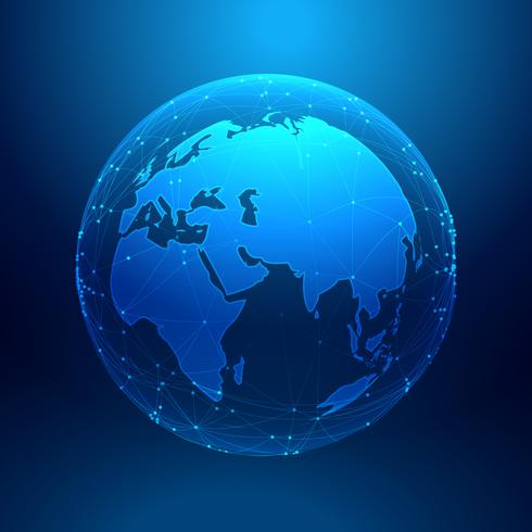 blue earth on wireframe network mesh, digital technology backgro