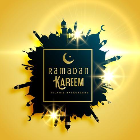 beautiful ramadan kareem greeting card design with frame made wi