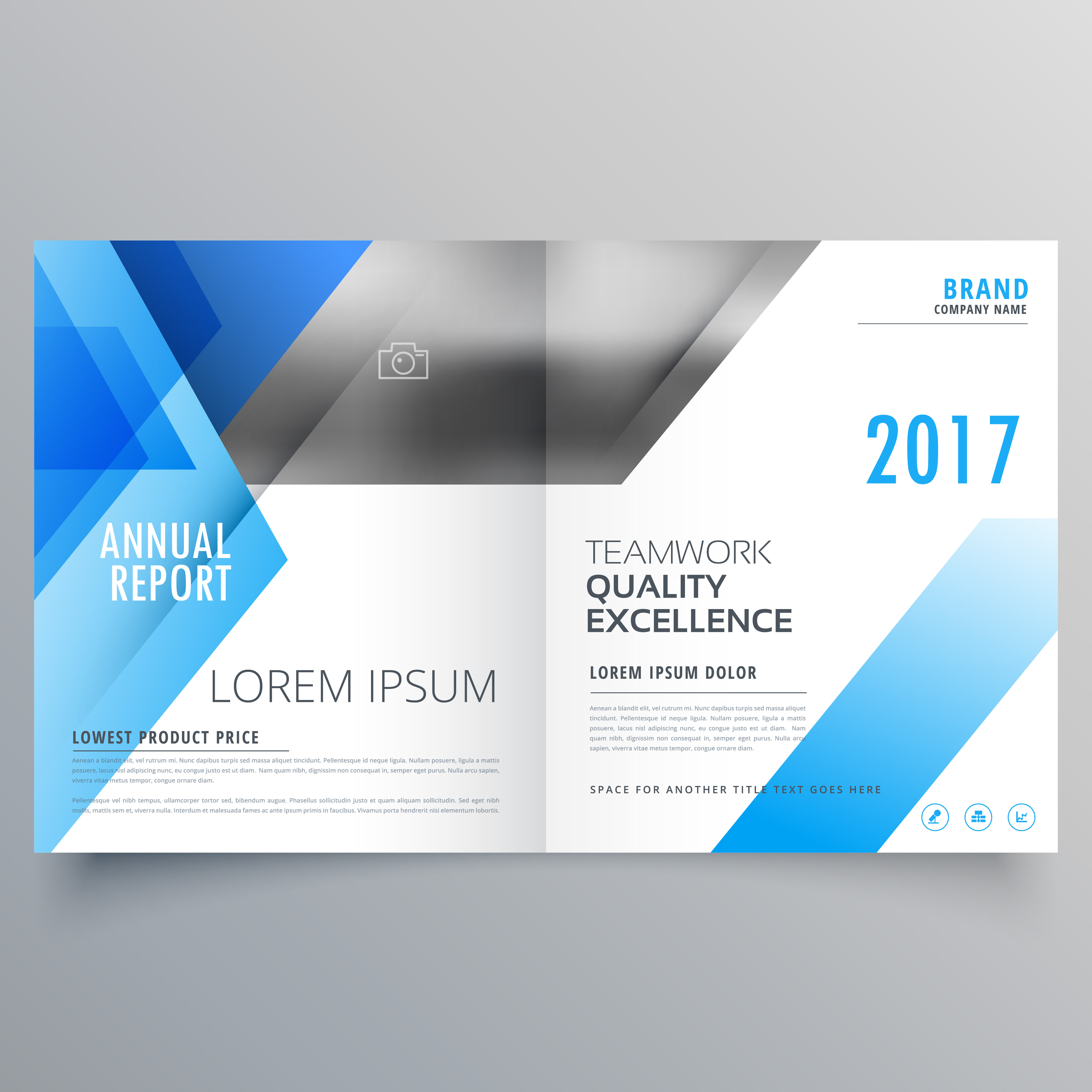 Booklet Page Cover Magazine Design With Blue Abstract