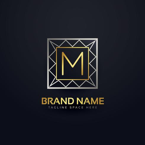 premium letter M logo in geometric shape style