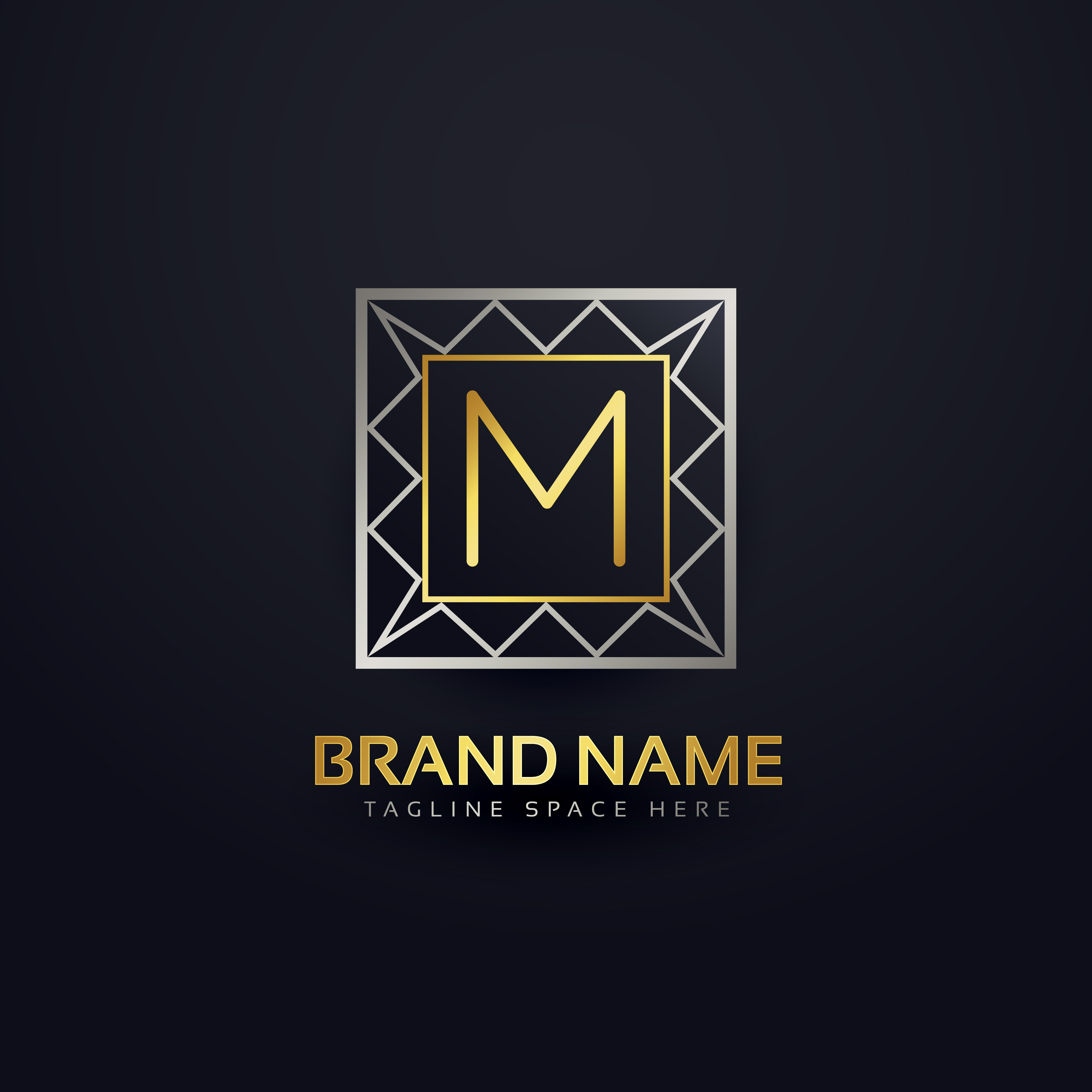 Set Of Monochrome Labels With Luxury Design: Premium Letter M Logo In Geometric Shape Style