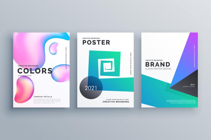 set of three abstract minimal brochure design template for magaz