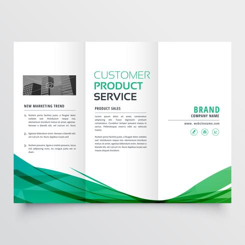 elegant green wave trifold brochure design for your business