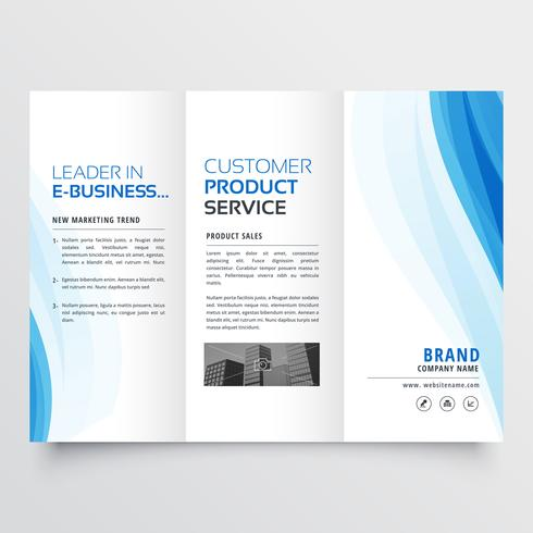 trifold brochure design template with blue wavy shapes