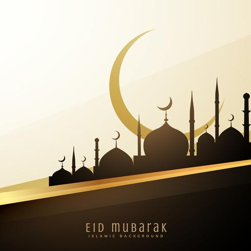 eid wishes background with mosque and moon