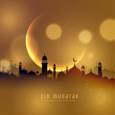 awesome eid festival background in golden theme