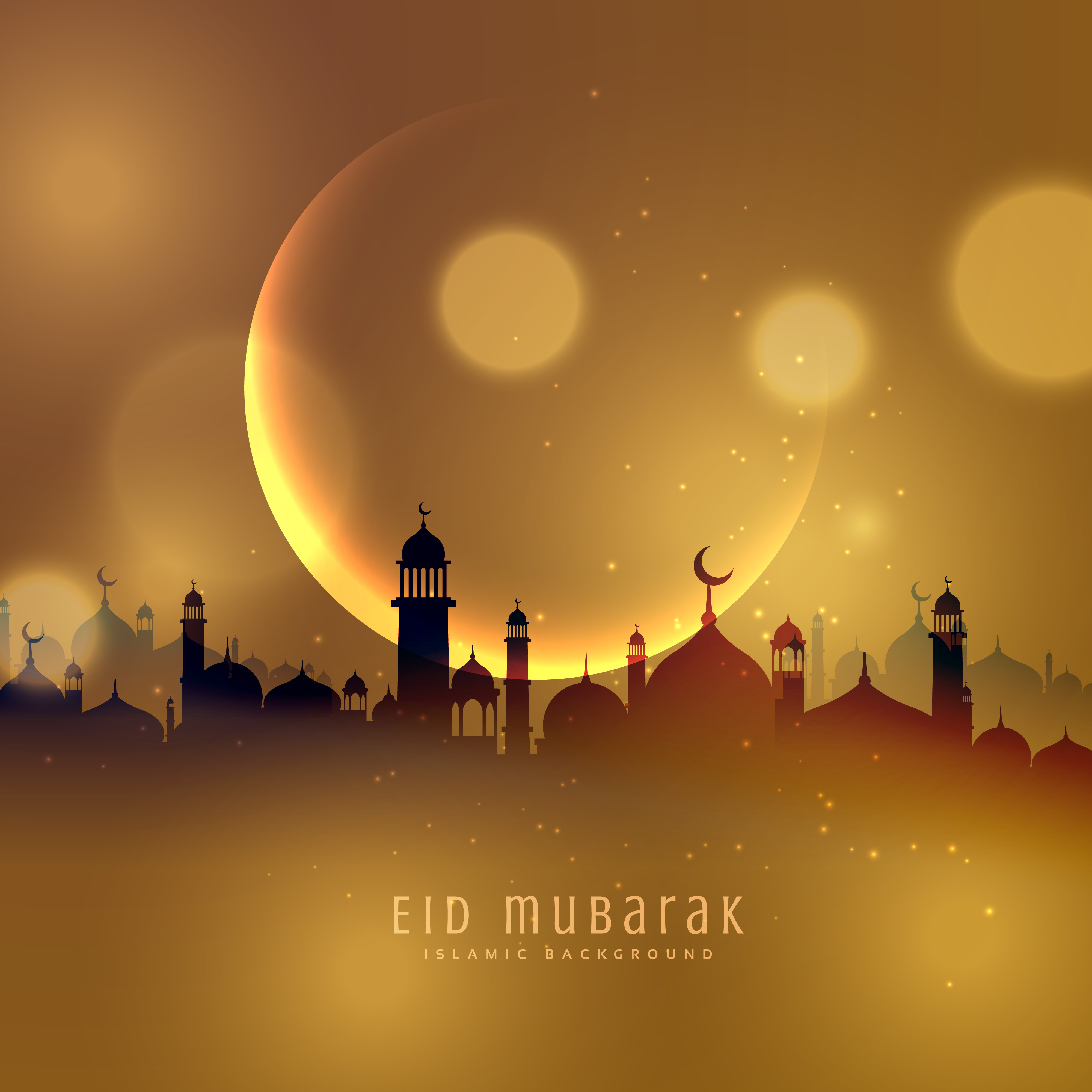 Awesome eid festival background in golden theme - Download