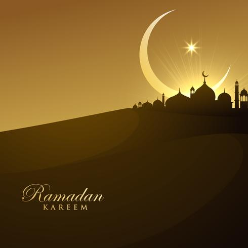 beautiful mosque silhouette in night with crescent moon and star