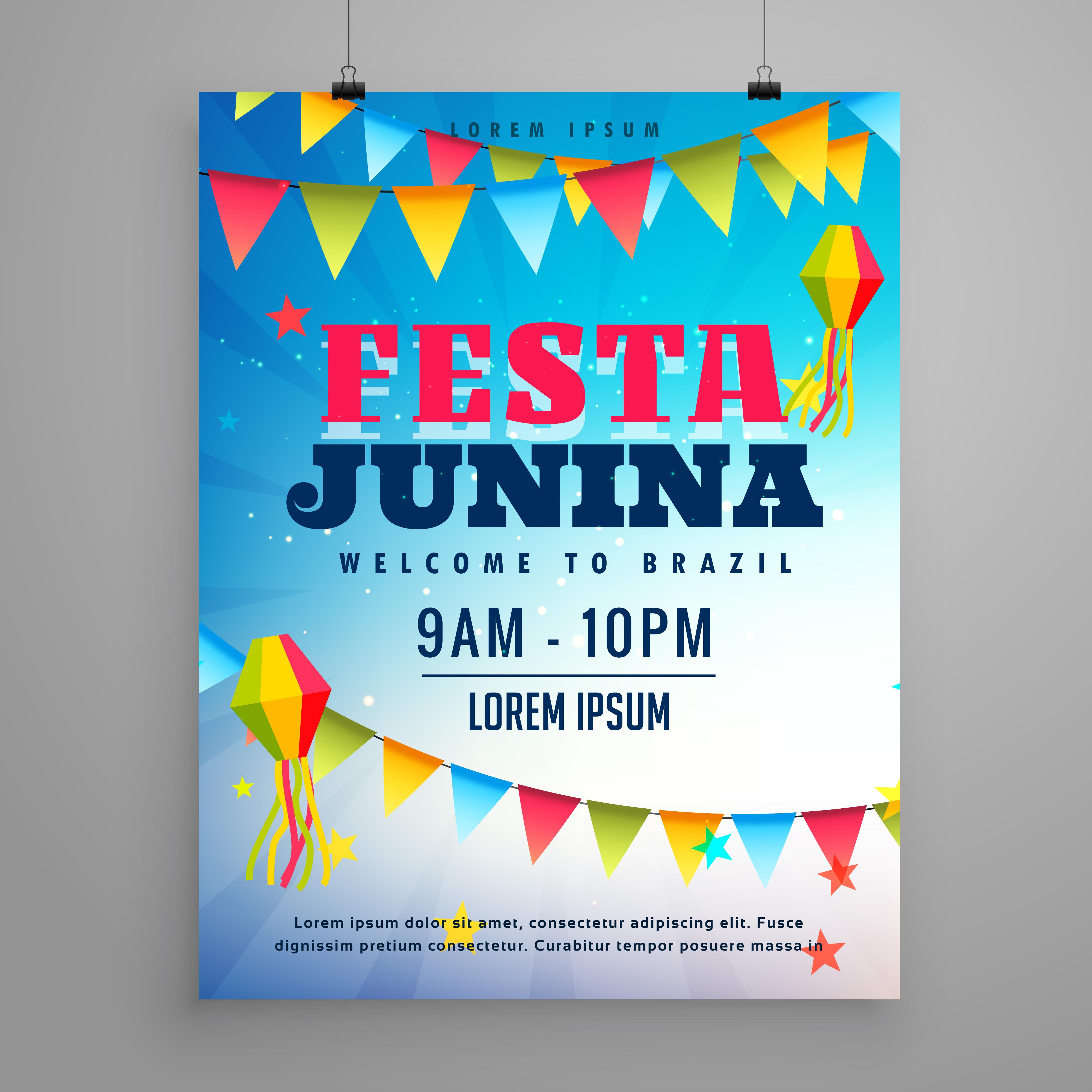 Festa Junina Celebration Poster Flyer Design With Garlands