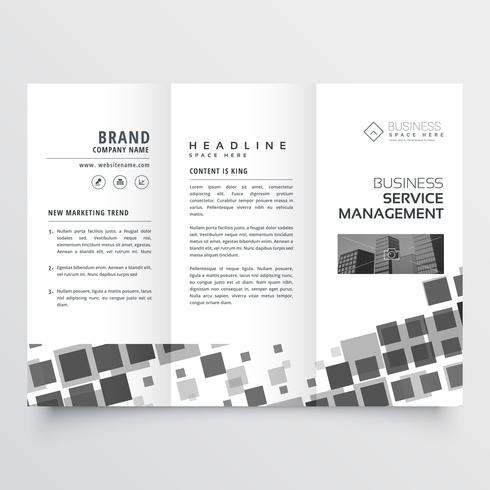 abstract black mosaic style tri fold brochure design template