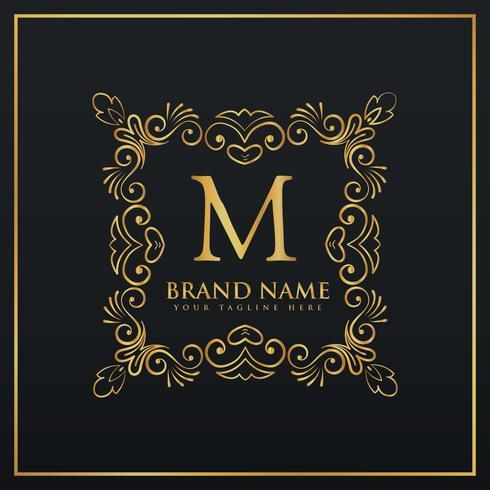 logo monogramme bordure de cadre décoratif floral pour la lettre M