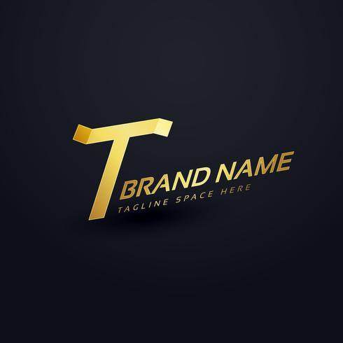 premium brev T logo koncept design mall
