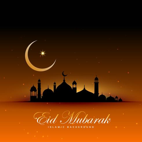 awesome eid mubarak background with mosque and moon