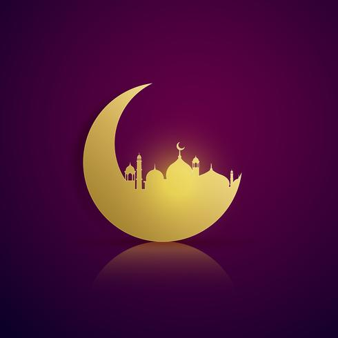 moon and mosque silhouette on purple background