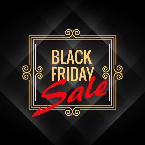 black friday sale poster with artistic frame decoration on black