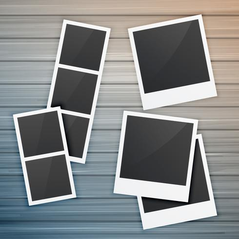 photo frames collection on wooden background