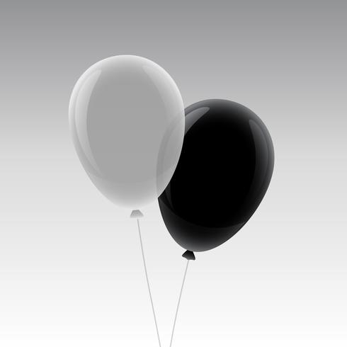 white and black flying balloon mockup design