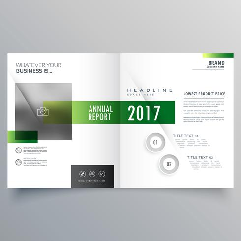 élégante brochure verte bi fold ou magazine design page tem