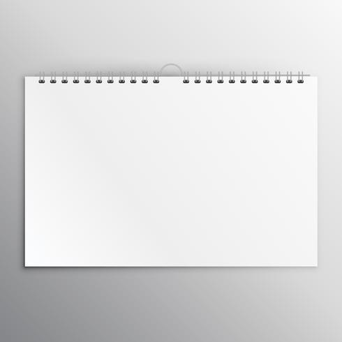 horizontal calender or notebook blank mockup design template