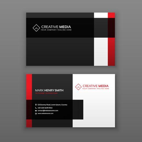 diseño de tarjeta profesional rojo y negro
