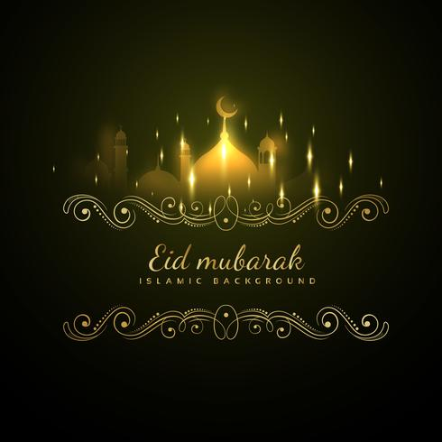 eid mubarak glowing background with sparkles