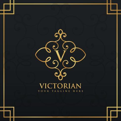 elegant premieembleem met florale stijl voor letter V