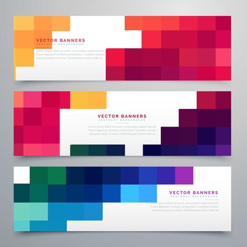 colorful mosaic headers set cards