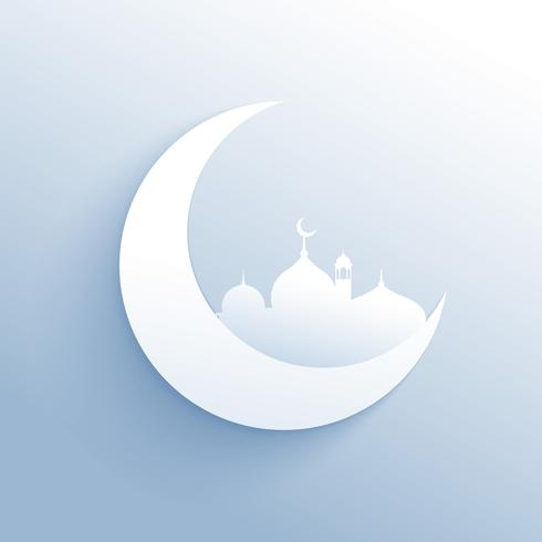 moon with mosque silhouette clean background for islamic festiva