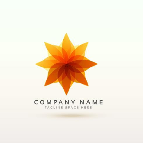 abstract oranje bloem logo conceptontwerp