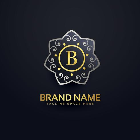 letter B logo design with floral element