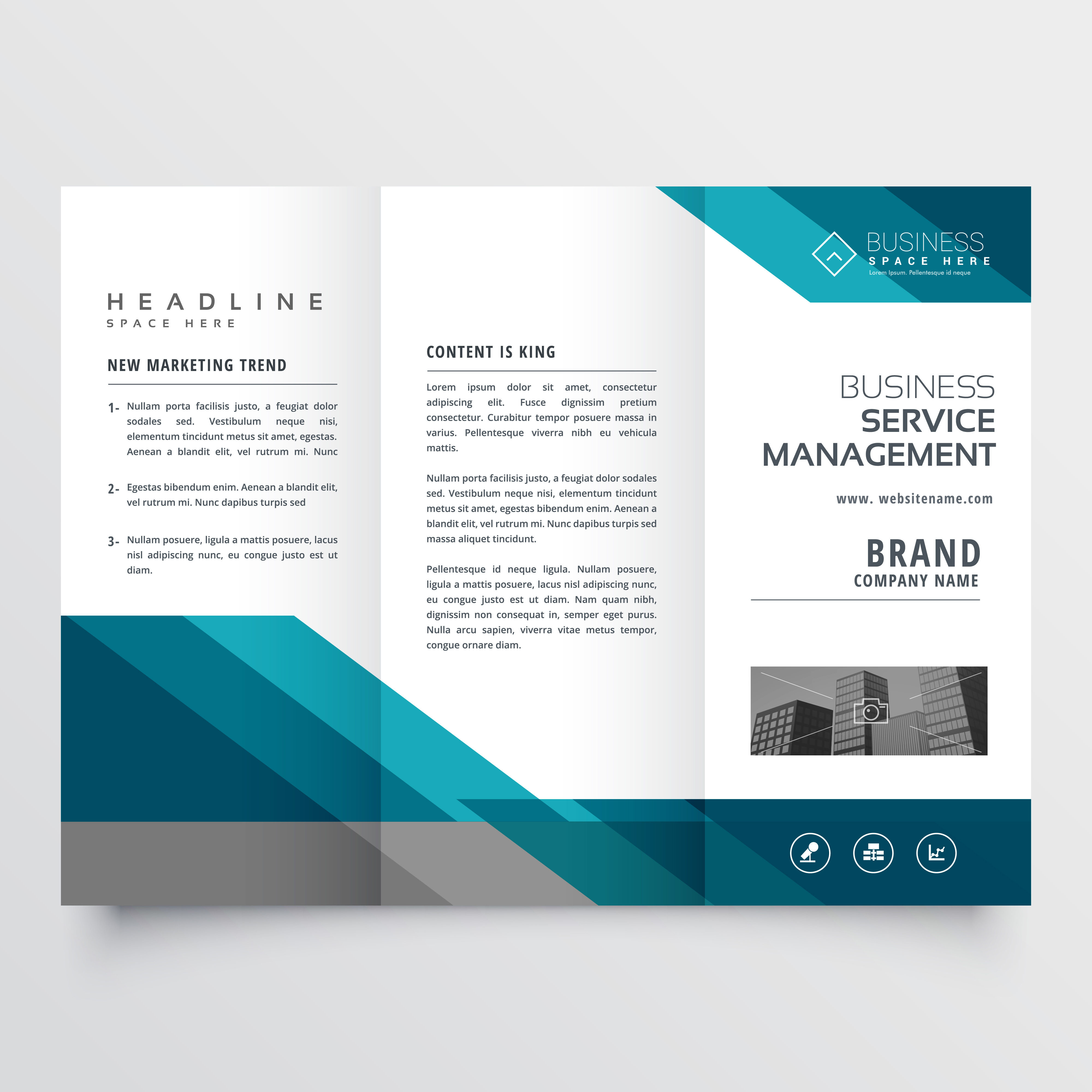 Business Trifold Brochure Leaflet Design In Size A4 For