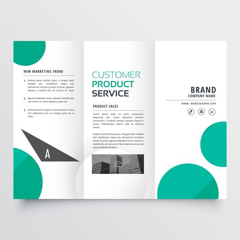 modern green dots trifold brochure design