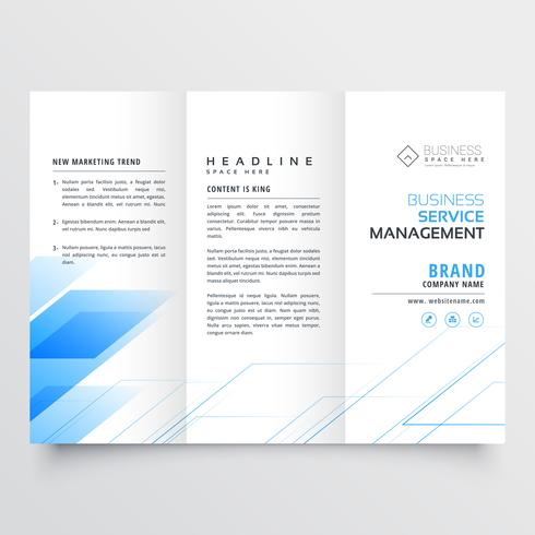 elegant blue business tri-fold brochure flyer design print templ