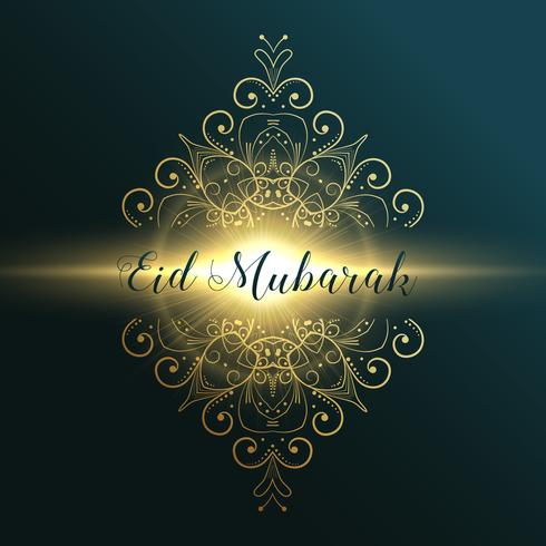 eid mubarak muslim festival greeting card design with floral dec