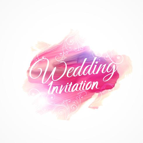 pink watercolor paint stroke for wedding invitation design templ