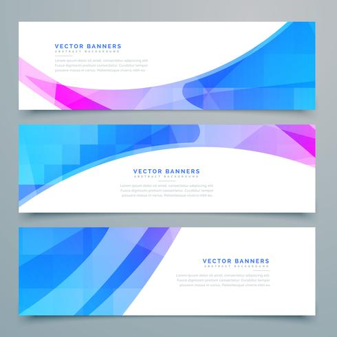 abstract wavy banners and headers set