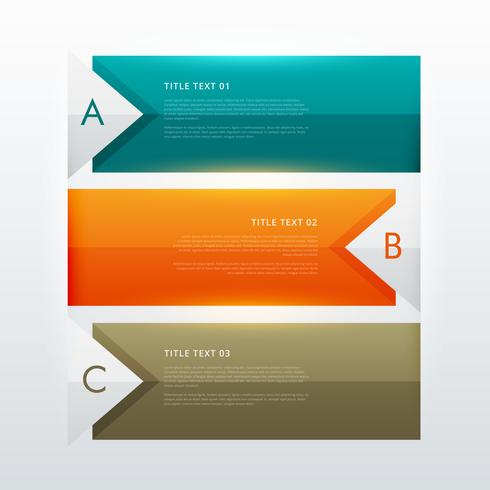 three steps modern colorful infographic design template for busi