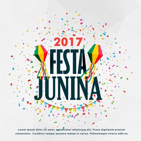 festa junina celebration poster design with confetti