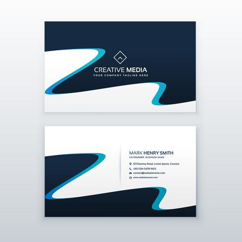 abstract wavy blue business card design