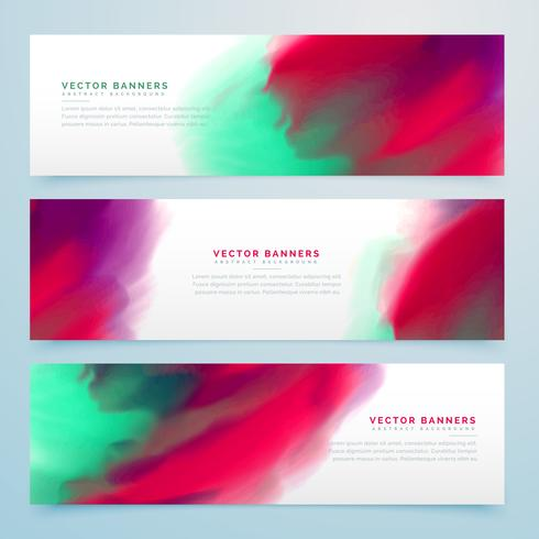 colorful watercolor style banners collection