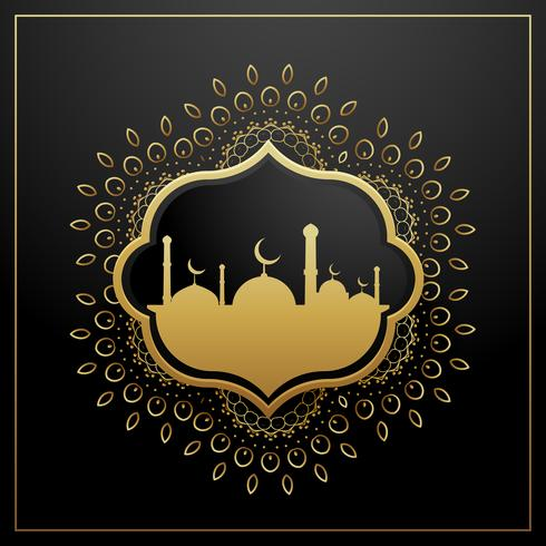golden eid festival greeting card design with golden decoration