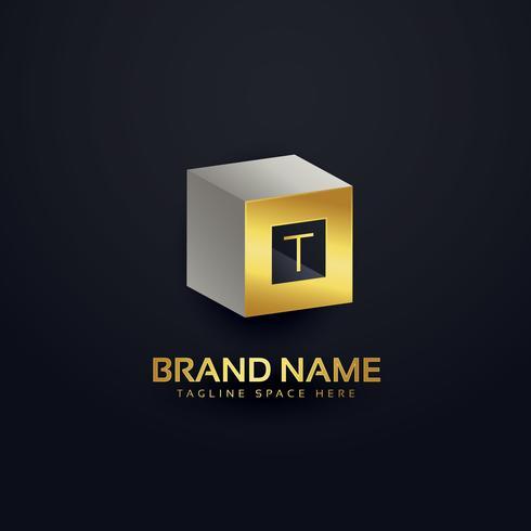 Logo-Designschablone des Buchstaben T 3d