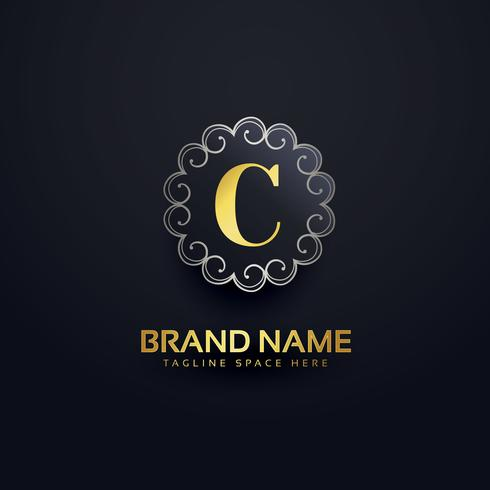 letter C logo with swirls decoration
