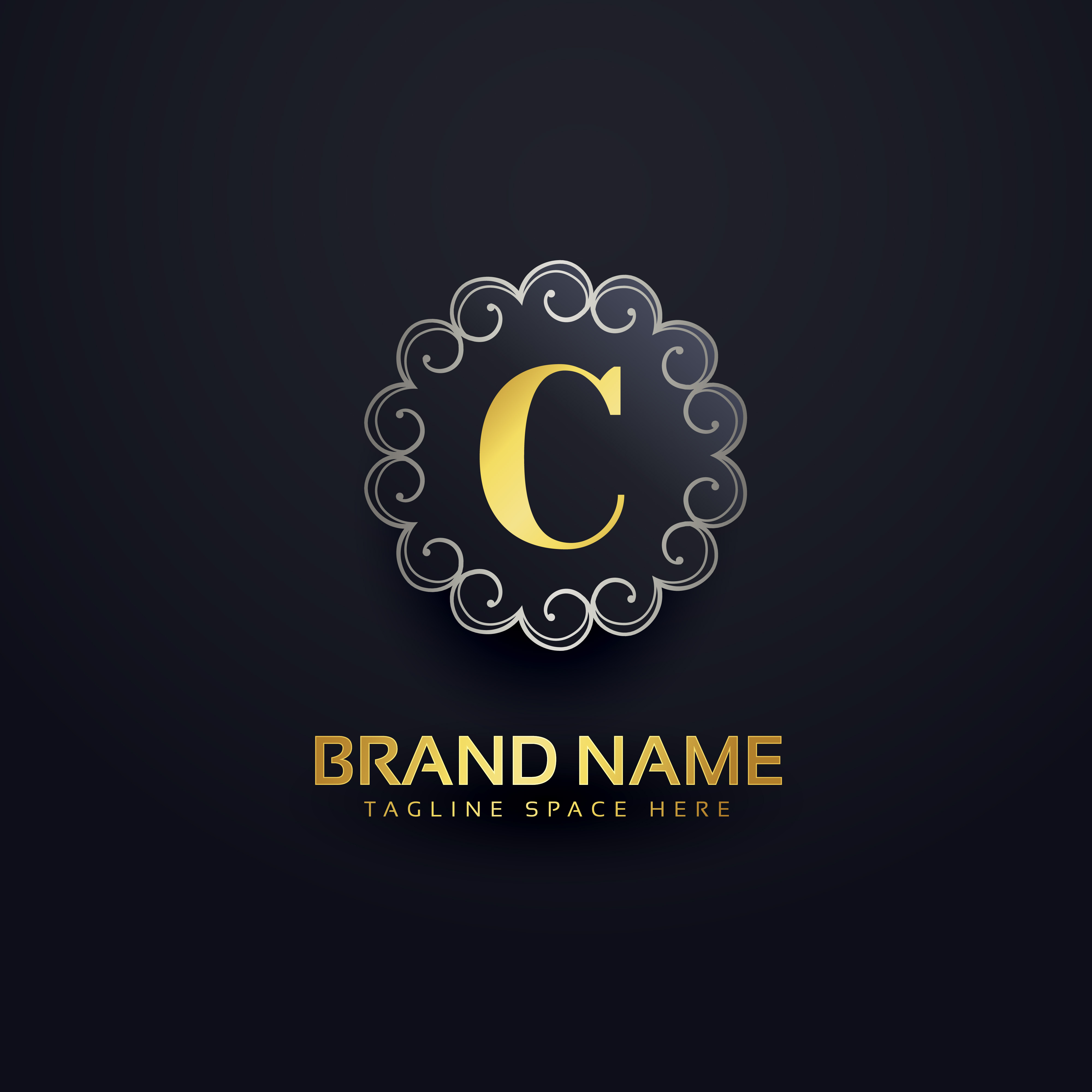 Set Of Monochrome Labels With Luxury Design: Letter C Logo With Swirls Decoration