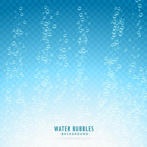 water bubbles on transparent blue background