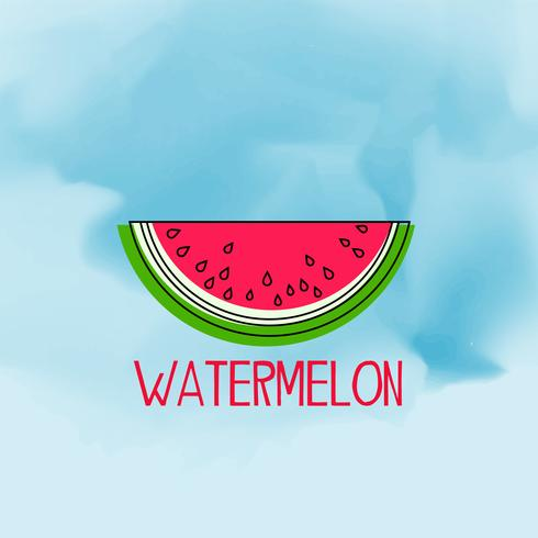 blue watercolor background with watermelon fruit